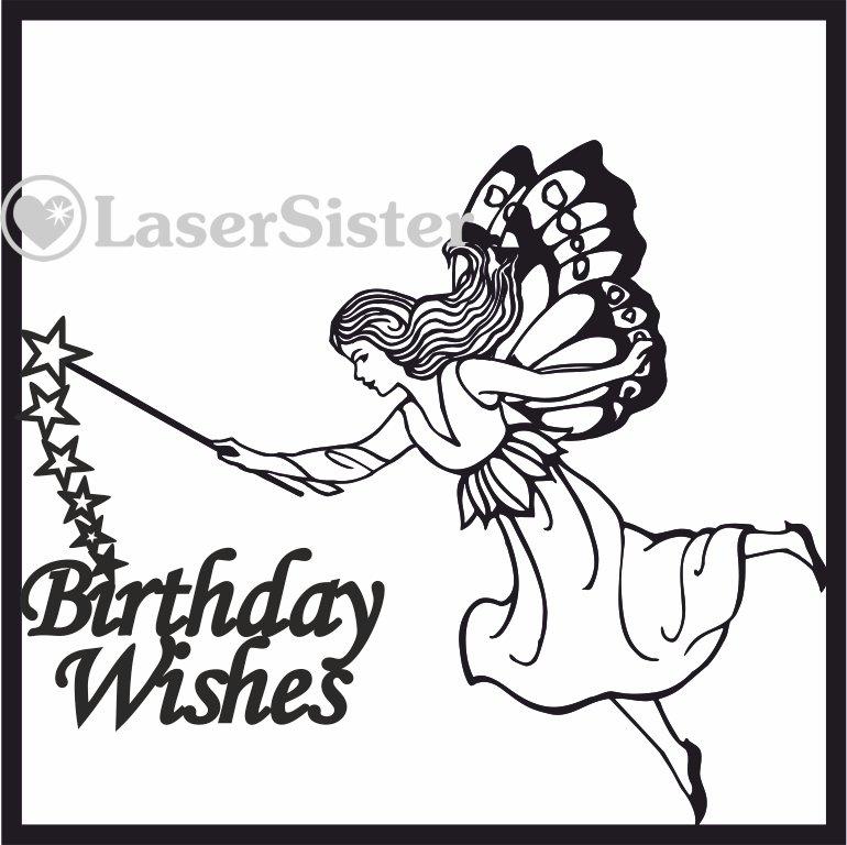 laser cut birthday wishes fairy card